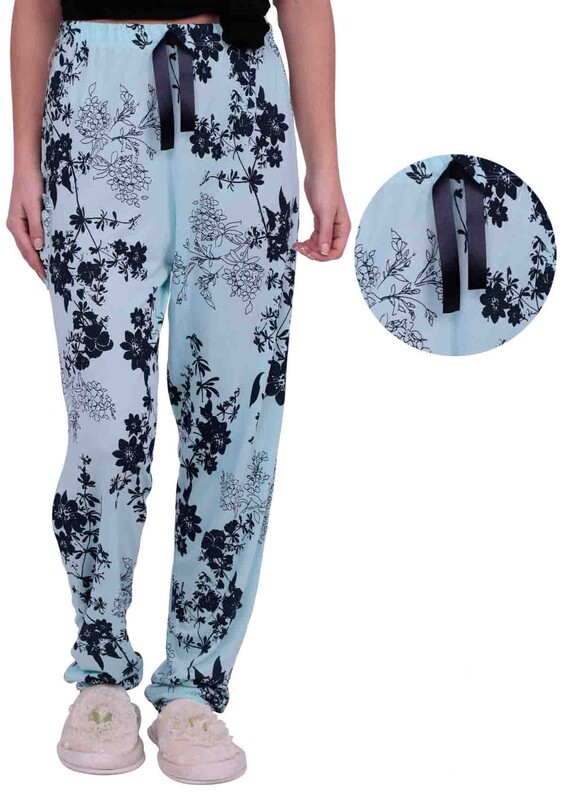 ARCAN - Çiçek Desenli Kadın Pijama Altı 002 | Su Yeşili