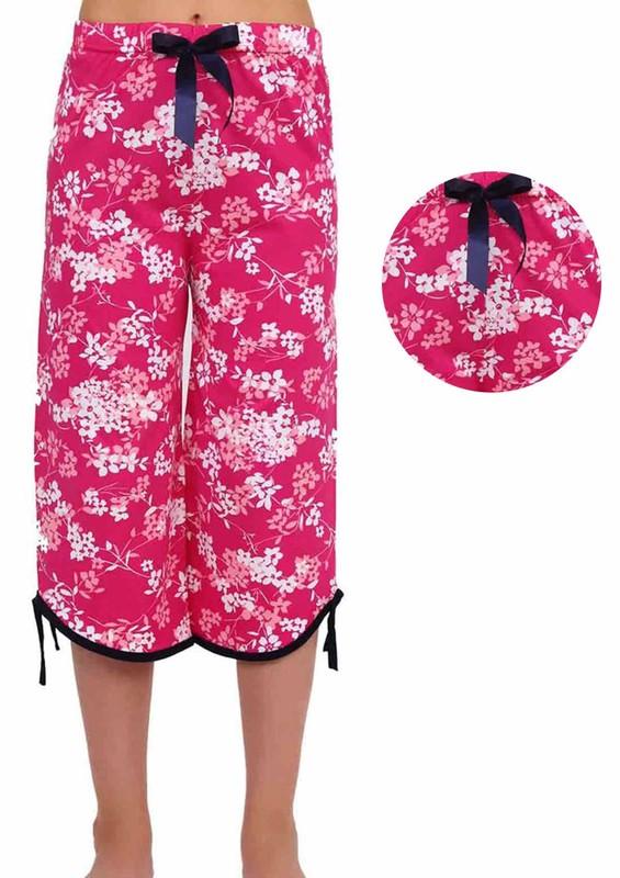 RİNDA - Çiçek Desenli Kapri Fuşya Pijama Altı 009 | Fuşya
