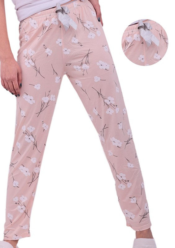 ARCAN - Çiçek Desenli Pijama Altı 20104   Krem