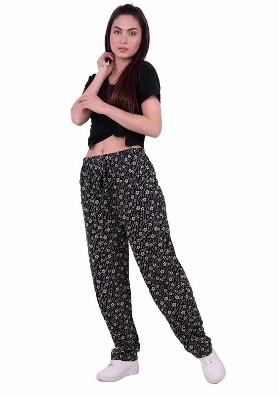 SİMİSSO - Çiçek Desenli Viskon Battal Pantolon 31511 | Siyah
