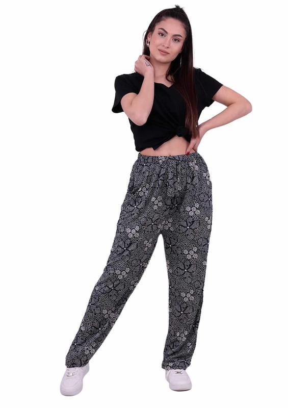 SİMİSSO - Çiçek Desenli Viskon Battal Pantolon | Lacivert