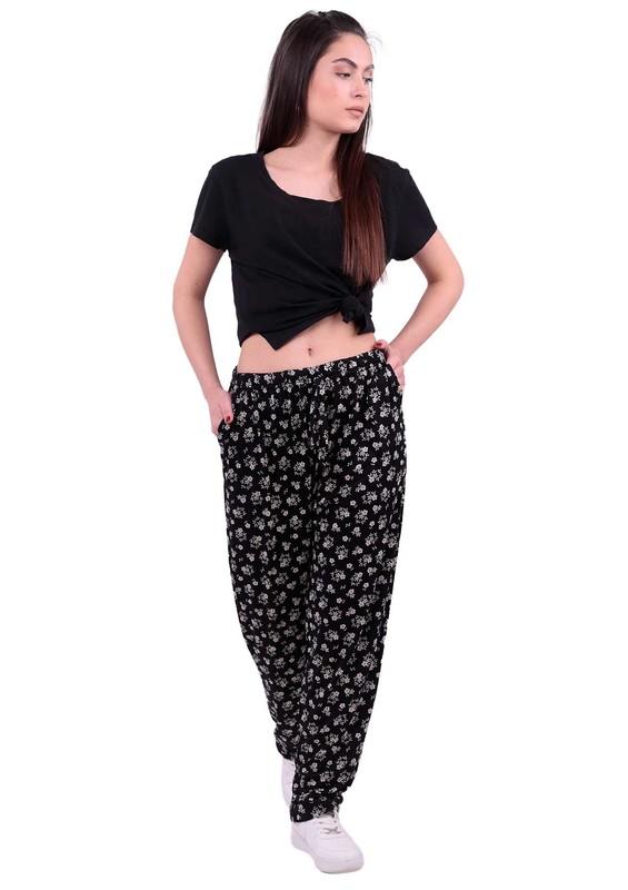 SİMİSSO - Çiçek Desenli Battal Viskon Pantolon | Siyah
