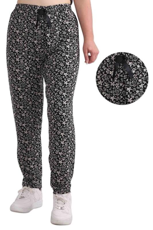 ZFR - Çiçek ve Yaprak Baskılı Viskon Pantolon   Siyah