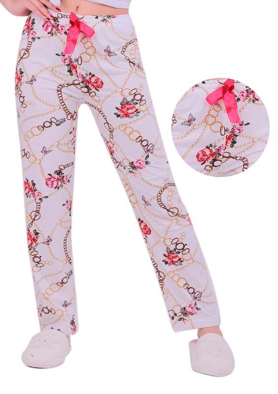 SİMİSSO - Çiçek ve Zincir Desenli Pijama Altı | Beyaz