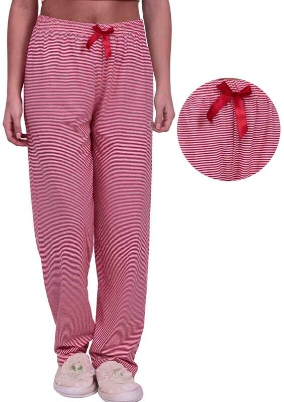 SİMİSSO - Çizgi Desenli Kadın Pijama Altı 003 | Kırmızı