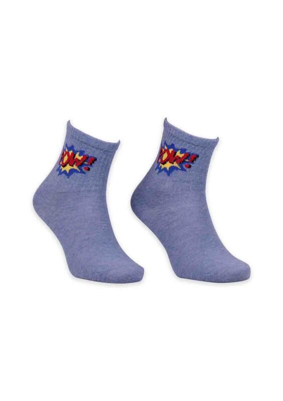 SİMİSSO - Çizgi Film Karakterli Kadın Soket Çorap 00023 | Mavi