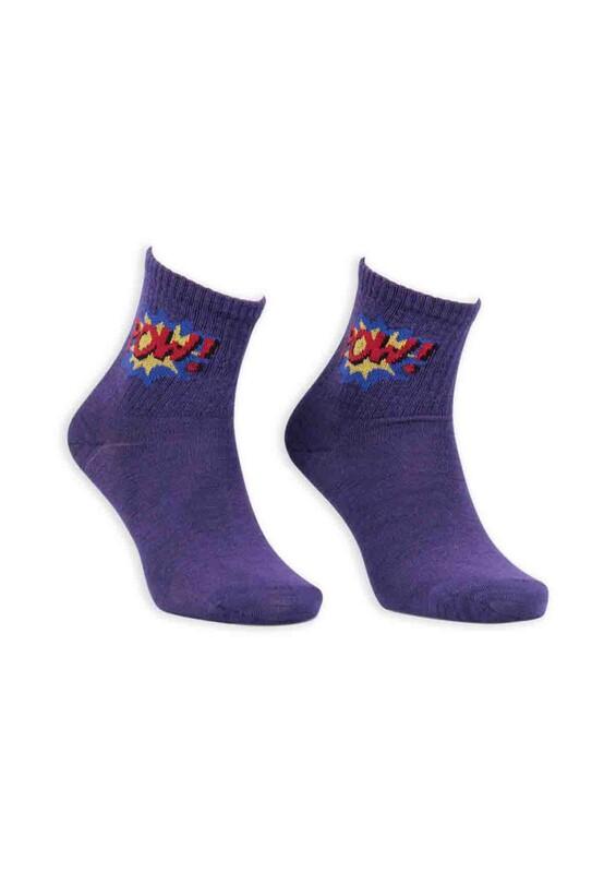 SİMİSSO - Çizgi Film Karakterli Kadın Soket Çorap 00023 | Mor