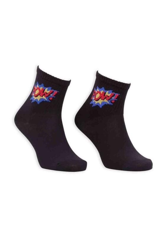 SİMİSSO - Çizgi Film Karakterli Kadın Soket Çorap 00023 | Siyah