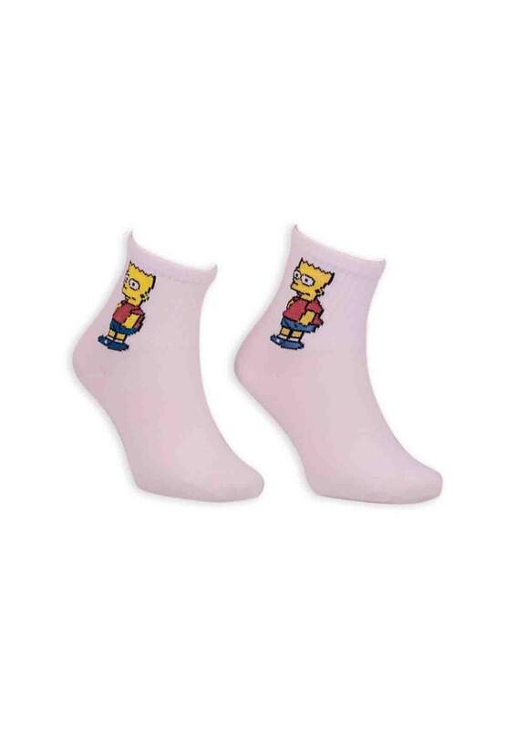 SİMİSSO - Çizgi Film Karakterli Kadın Soket Çorap 00032 | Beyaz
