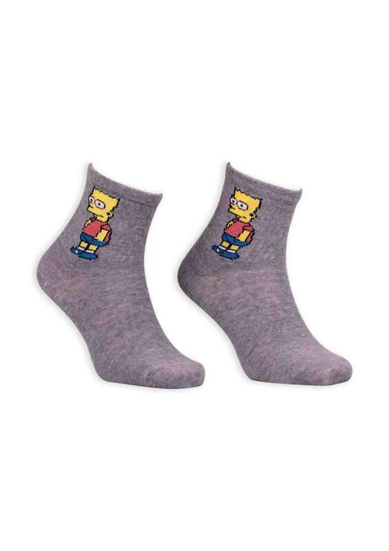SİMİSSO - Çizgi Film Karakterli Kadın Soket Çorap 00032 | Gri