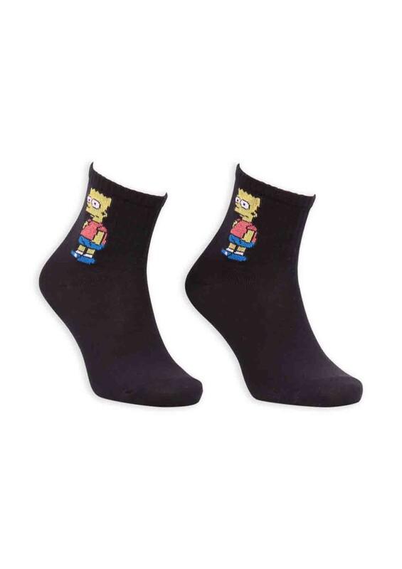 SİMİSSO - Çizgi Film Karakterli Kadın Soket Çorap 00032 | Siyah