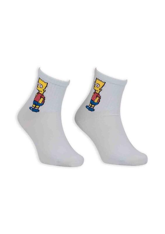 SİMİSSO - Çizgi Film Karakterli Kadın Soket Çorap 00032 | Su Yeşili