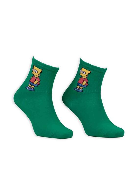 SİMİSSO - Çizgi Film Karakterli Kadın Soket Çorap 00032 | Yeşil