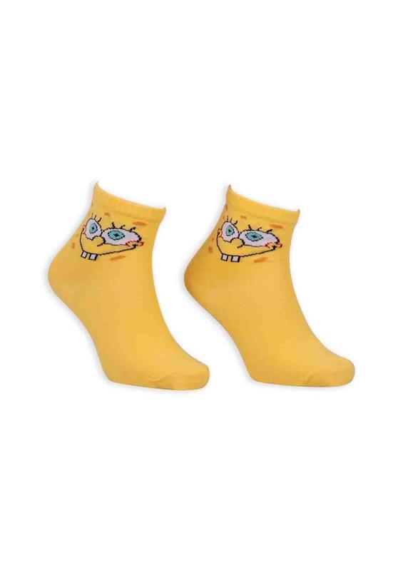 SİMİSSO - Çizgi Film Karakterli Kadın Soket Çorap 00050 | Sarı