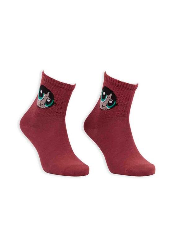SİMİSSO - Çizgi Film Karakterli Kadın Soket Çorap 0055 | Kahverengi