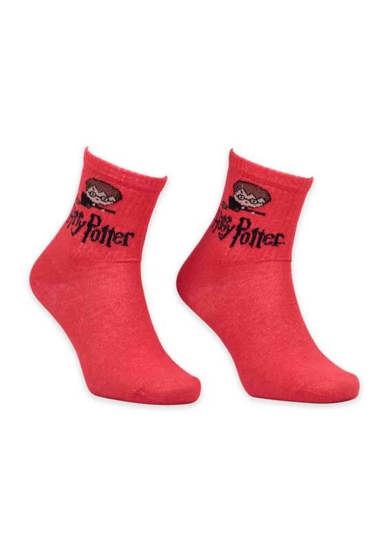 SİMİSSO - Çizgi Film Karakterli Kadın Soket Çorap 0063 | Kırmızı