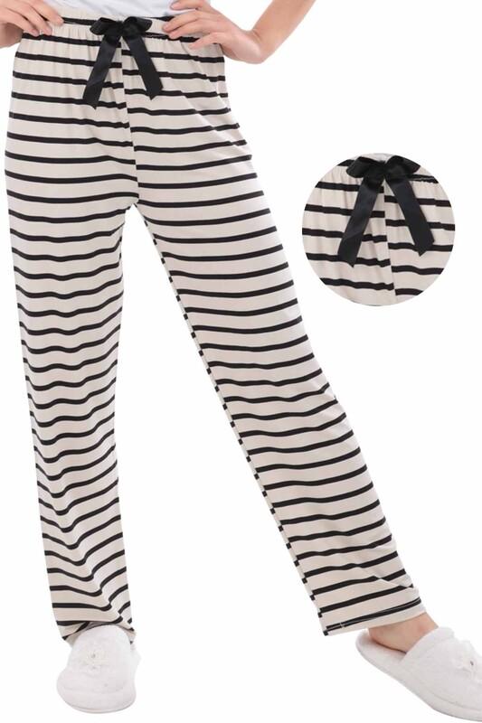 RİNDA - Çizgili Kadın Pijama Altı 1413 | Krem