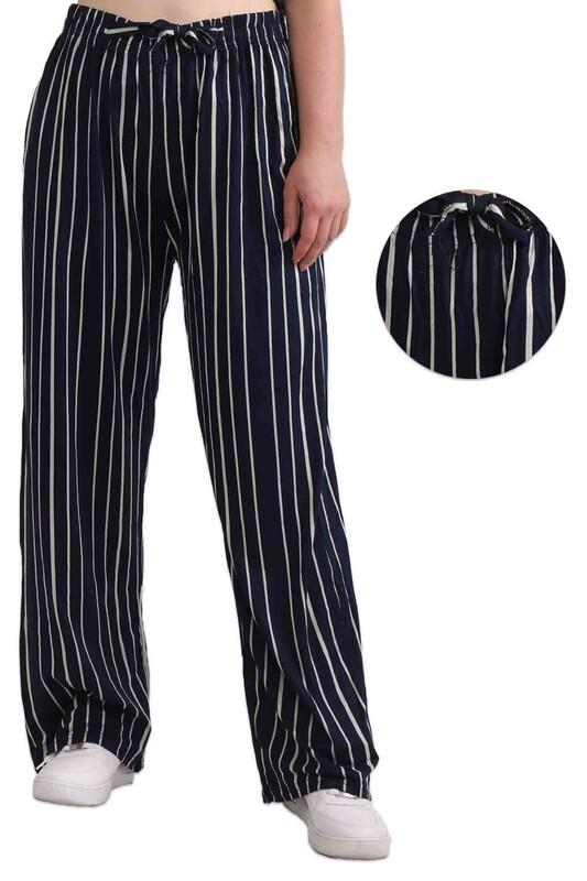 ZFR - Çizgili Viskon Geniş Paça Pantolon   Lacivert