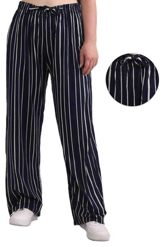 ZFR - Çizgili Viskon Geniş Paça Pantolon | Lacivert