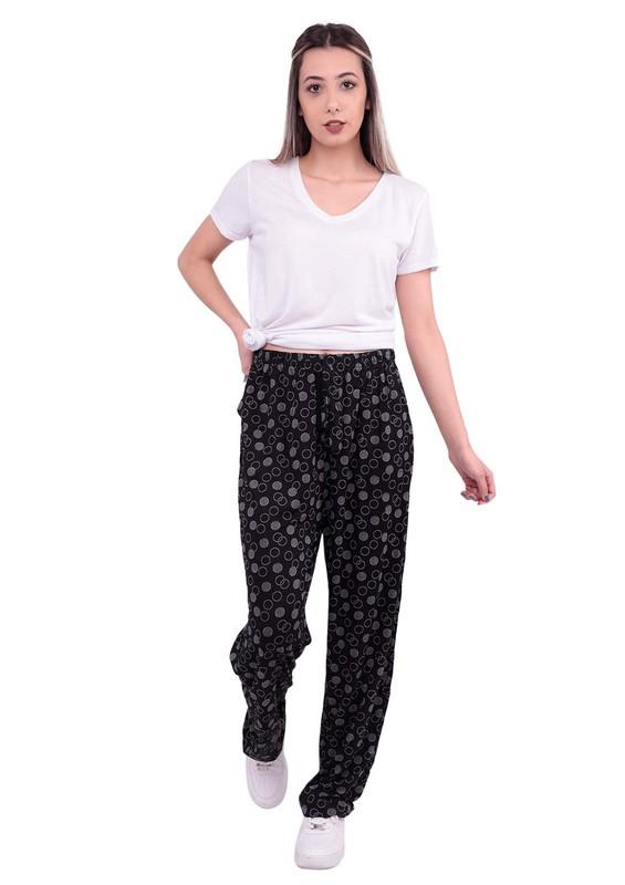 DOĞAN - Daire Desenli Bol Paçalı Battal Viskon Pantolon | Siyah
