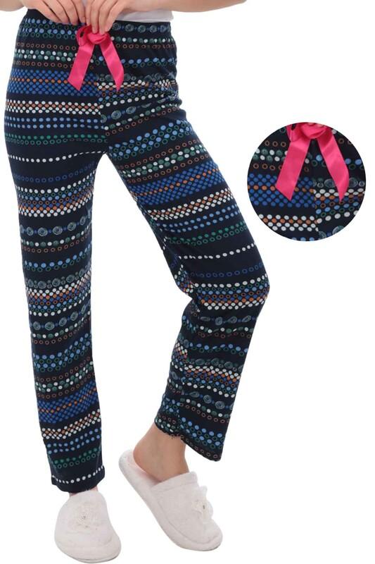 RİNDA - Daire Desenli Kadın Pijama Altı 1409 | Lacivert