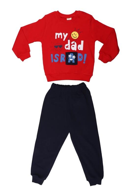 Damla - Damla My Dad Baskılı Bebek Takımı 2'li 20435 | Kırmızı