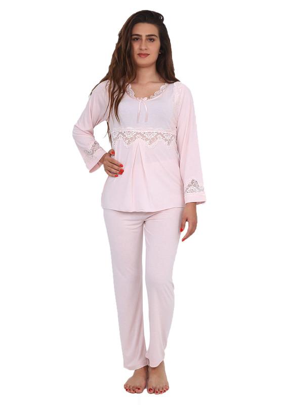 İMAJ - Dantelli Boru Paçalı Pijama Takımı 1071   Pudra