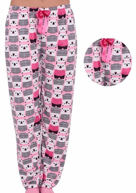 RİNDA - Dar Paçalı Çizgi Karakter Desenli Kadife Pijama Altı 139 | Pembe