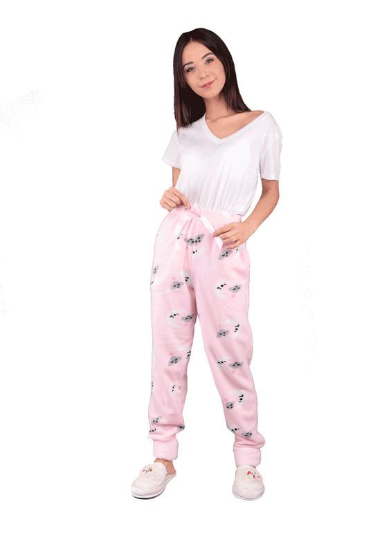 ARCAN - Dar Paçalı Desenli Kurdeleli Polar Pijama Altı 456   Pembe