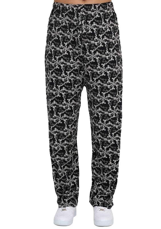 DOĞAN - Boru Paçalı Desenli Pantolon 324 | Siyah