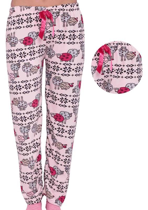 RİNDA - Dar Paçalı Koyunlu Desenli Kadife Pijama Altı 339 | Pembe