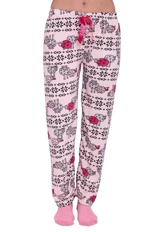 RİNDA - Dar Paçalı Koyunlu Desenli Kadife Pijama Altı 339   Pembe