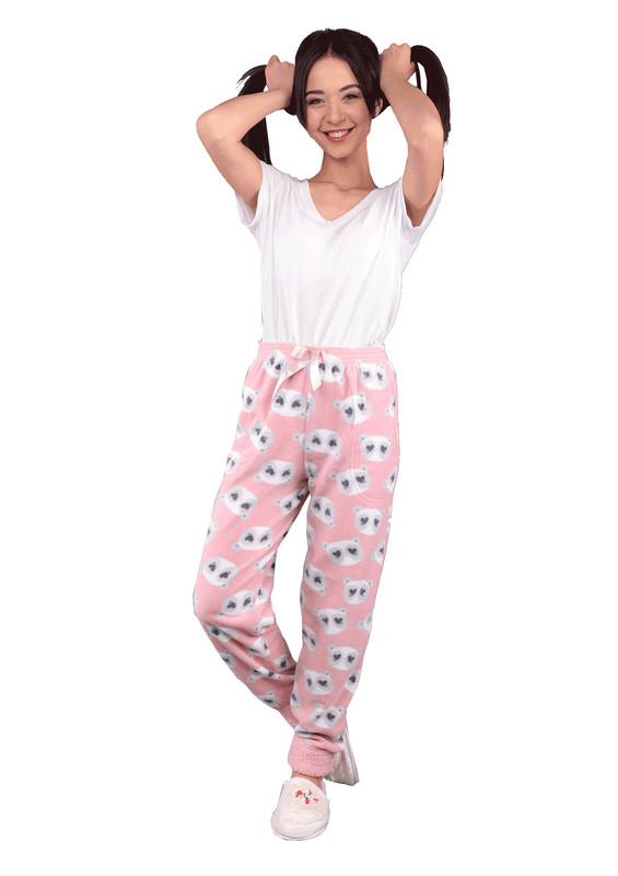 ARCAN - Dar Paçalı Kurdeleli Ayıcıklı Polar Pijama Altı 453   Pudra