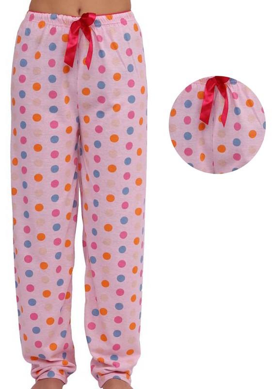 LİNDROS - Dar Paçalı Puantiyeli Pijama Altı 001 | Pembe