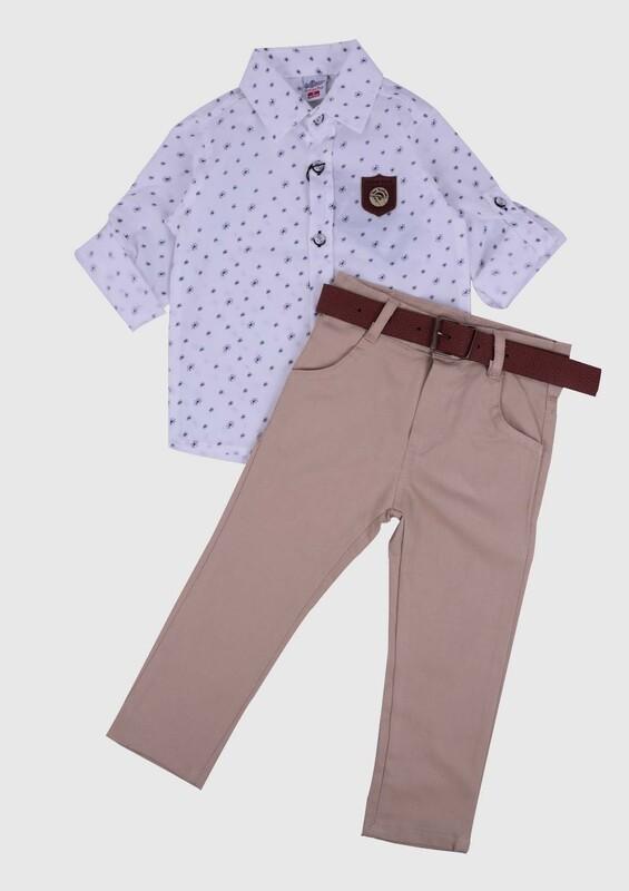 AYNUR BEBE - Desenli Gömlek ve Pantolon Erkek Çocuk 3'lü Takım | Beyaz