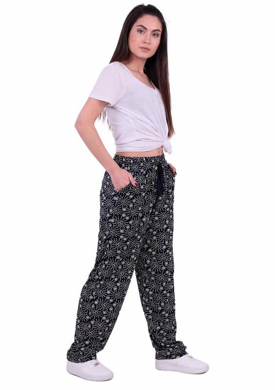 SİMİSSO - Desenli Viskon Battal Pantolon 31430 | Lacivert