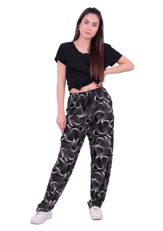 SİMİSSO - Desenli Battal Viskon Pantolon 31434 | Siyah