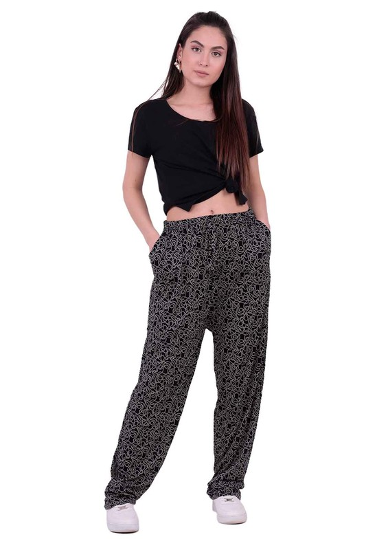 SİMİSSO - Desenli Battal Viskon Pantolon 31443 | Siyah