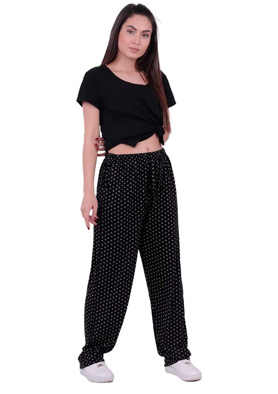 SİMİSSO - Desenli Battal Viskon Pantolon 31444 | Siyah