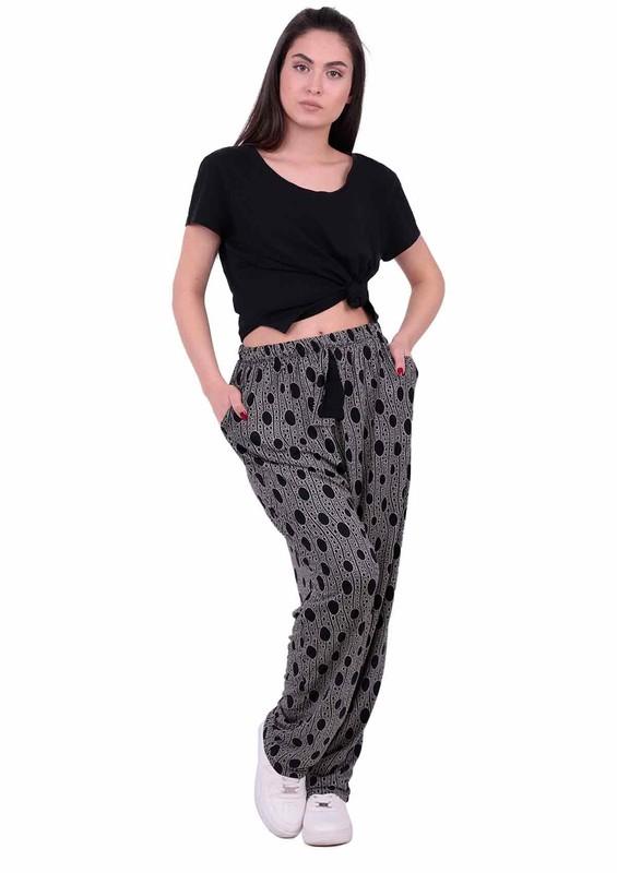 SİMİSSO - Desenli Battal Viskon Pantolon 31557 | Siyah