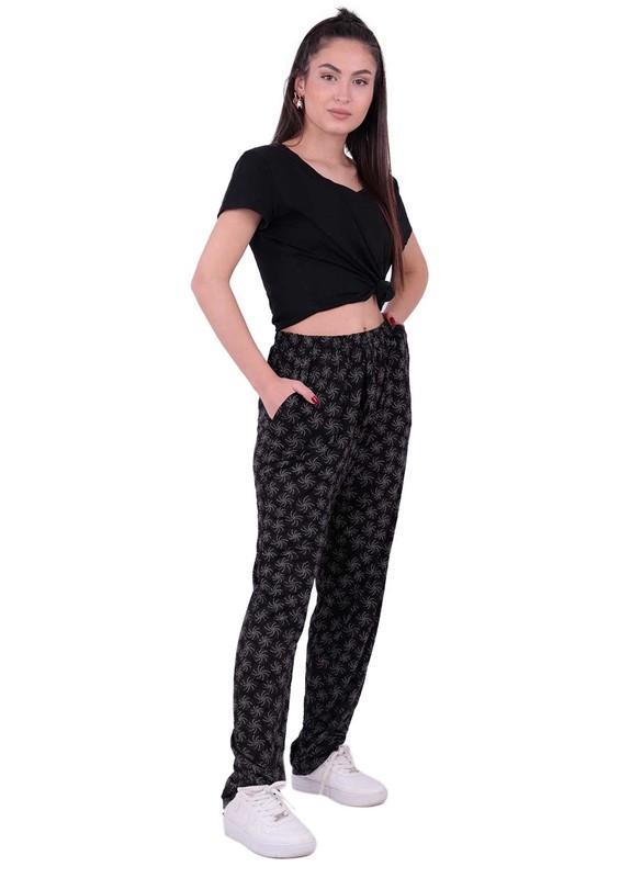 SİMİSSO - Desenli Battal Viskon Pantolon | Siyah