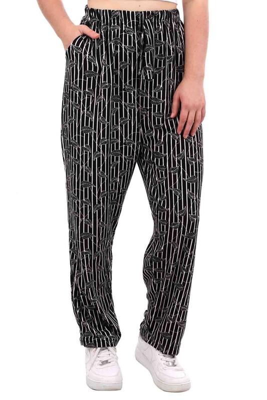 DOĞAN - Doğan Yaprak Desenli Battal Süet Pantolon | Siyah