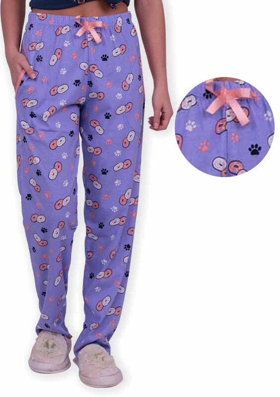 SİMİSSO - Donut Baskılı Kadın Pijama Altı | Mor