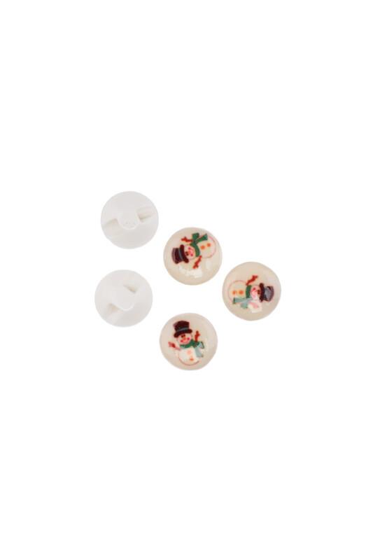 SİMİSSO - Kardan Adam Baskılı Düğme | Beyaz