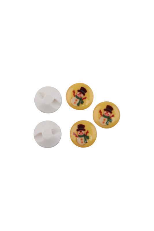 SİMİSSO - Kardan Adam Baskılı Düğme | Sarı