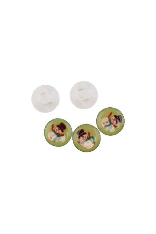 SİMİSSO - Kardan Adam Baskılı Düğme | Yeşil