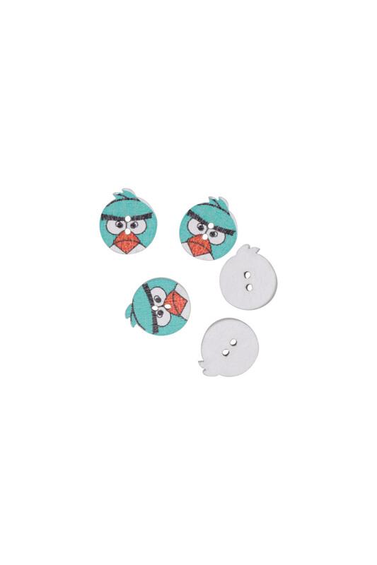 SİMİSSO - Kuş Baskılı Ahşap Düğme 5 li | Yeşil