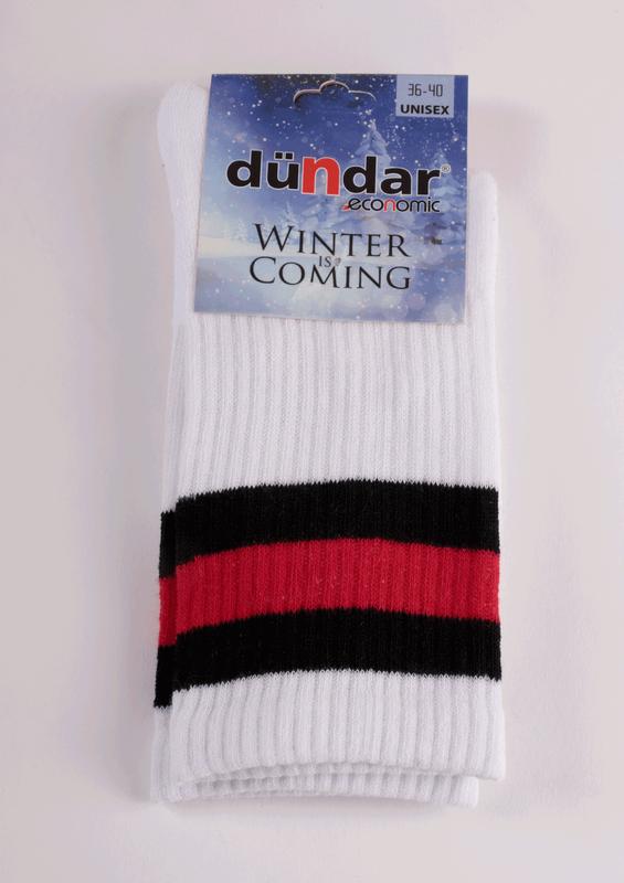 DÜNDAR - Dündar Desenli Havlu Çorap 8504 | Beyaz