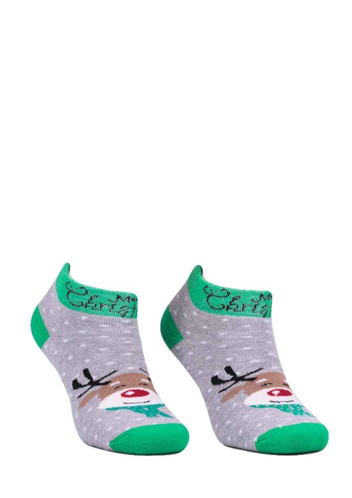 Dündar Geyik Desenli Havlu Patik Çorap 009 | Gri