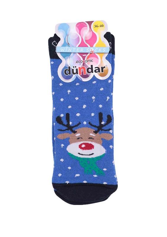 DÜNDAR - Dündar Geyik Desenli Havlu Patik Çorap 009   Mavi